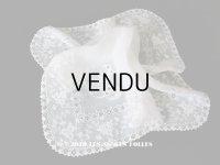 19世紀 アンティーク  ホワイトワークの結婚式のハンカチ モノグラム&透かし模様入り