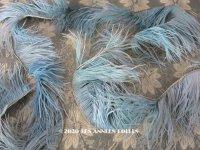 未使用 1900年代 アンティーク  フェザー 羽飾り スモーキーブルー 約155cm 幅7〜9cm