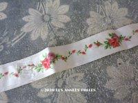 1900年代 アンティーク シルクサテン&ベルベットのリボン 薔薇のハンドペイント 69cm 2.7cm幅