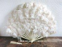 1900年代 アンティーク オフホワイトのファン  白鳥のフェザー&ボーン製
