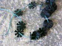 アンティーク ゼラチン製 スパンコール 花 フラワー 6mm 黒 100ピースのセット