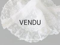 19世紀 アンティーク  結婚式のハンカチ 【MQ】 菫のホワイトワーク & 手編みのヴァランシエンヌレース
