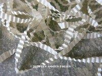 1900年代 アンティーク シルク製 リボン 極細 プリーツ加工 オフホワイト リボン刺繍用  3mm幅