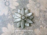 19世紀 アンティーク パスマントリー 花のモチーフ シルク製 淡いブルーグリーン