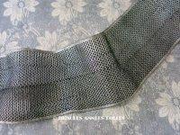 1920年代 アンティーク 幅広 メタル & コットン  メッシュリボン アールデコ シルバー&黒  62cm 幅9.5cm