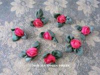 アンティーク シルク製 薔薇のロココモチーフ ピンク (S) ピース売り