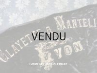 アンティーク  CLAYETTE & MANTELIERのロゴ入り シルク製 ベルベット ブラウン 37×120cm