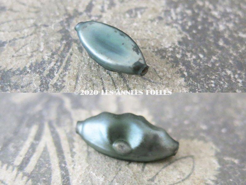 画像2: アンティーク スフレビーズ グレイッシュブルー 吹きガラス製 ビーズ  24ピースのセット 約9.5×19mm