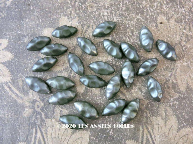 画像1: アンティーク スフレビーズ グレイッシュブルー 吹きガラス製 ビーズ  24ピースのセット 約9.5×19mm