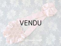 アンティーク シルク製 グレイッシュピンクのオモニエール