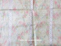19世紀 アンティーク  シルク製 ファブリック ほぐし織 ピンクの薔薇&勿忘草のリース