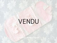 19世紀末 アンティーク ポンポン付き シルク製 淡いピンク裁縫道具用ポシェット