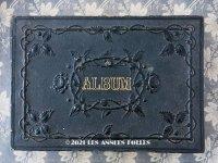 19世紀 アンティーク 薔薇模様の黒いアルバム ALBUM