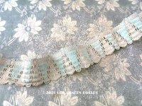 未使用 19世紀末 アンティーク  パスマントリー 淡いブルー&オフホワイト