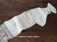 アンティーク ウェディングドレスの大きなシルクリボン オフホワイト 77×18cm