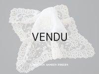 19世紀 アンティーク イニシャル・モノグラム刺繍入り 結婚式のハンカチ アプリカシオン・アングルテール (ボビンレース)