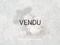 アンティーク ドールハット用 小さなコサージュ 薔薇の布花