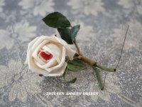 アンティーク とても小さな薔薇の布花 ピンク&ホワイト