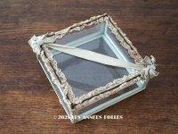 アンティーク ジュエリーボックス ペールブルー リボン&レース ガラスケース 20×20×7.5cm