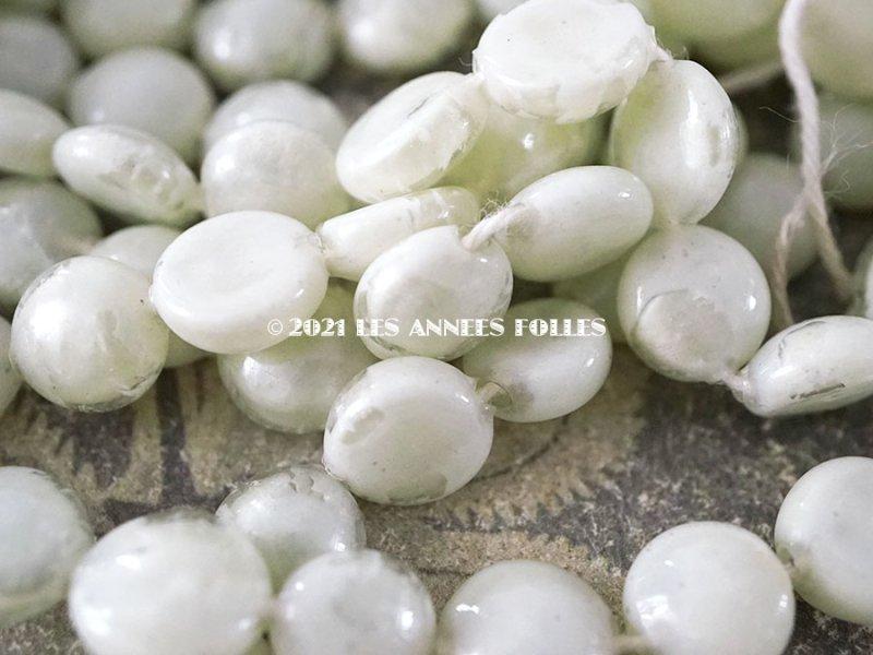 画像3: アンティーク スフレビーズ パウダーグリーン 吹きガラス製 ビーズ  約120ピースのセット 約10mm