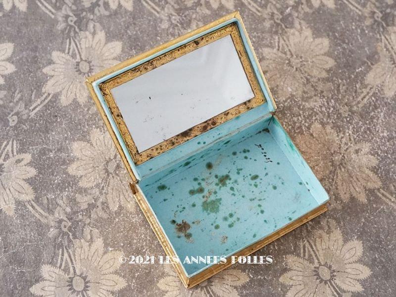 画像1: アンティーク ミサ典書型 本型 ミラー付き ドラジェのお菓子箱 ベルベット