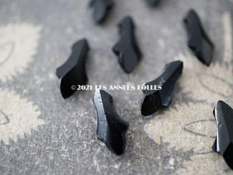 画像2: アンティーク フレンチジェット リーフ型 ビーズ カット入り 6×13mm 約75ピース