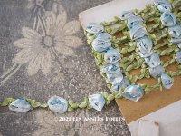 未使用 1920年代 アンティーク とても大きな薔薇のロココトリム 淡いブルー ロココリボン
