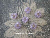アンティーク 硝子製 花型のビーズ 紫 6ピースのセット 約7〜8mm