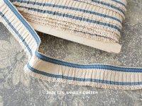 【11周年セール対象外】 アンティーク  フリルリボン リネン製 ブルーのライン入り