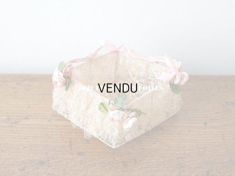 画像2: 【11周年セール対象外】 アンティーク ピンクの薔薇の布花付 ウェディングのドラジェ用パニエ マリアージュ