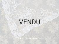 【11周年セール対象外】 アンティーク  薔薇の花かごのカーテン 手編みのボビンレース アプリカシオン・アングルテール 67×74cm