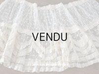 1900年代 アンティーク  50cm幅  ドレスの裾 ドットのチュール&シルクサテンリボン  約424cm