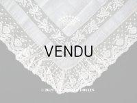 未使用 19世紀 アンティーク  結婚式のハンカチ 王冠紋章 & プリーツ入り 手編みのヴァランシエンヌレース