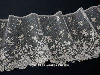 19世紀末 アンティーク 未使用 8.8m 手編みのボビンレース 幅広18cm アプリカシオン・アングルテール