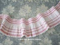 アンティーク  幅広フリルリボン リネン製 ピンク&赤のライン入り 7.8cm幅