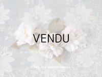 アンティーク  薔薇の布花  パウダーピンク ドールハット用 クォーター・ロゼット咲き