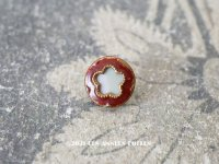アンティーク 小さな花 エナメル & シェルボタン ホワイト & ボルドー 8mm