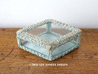 アンティーク リボンワークのジュエリーボックス スモーキーブルー ガラスケース
