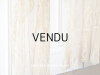 アンティーク カーテン (ペア) リボン柄 アイボリー&キャメル色 85〜120cm幅×高さ275cmのカーテン2点