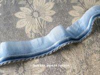 アンティーク シルク製  リボン ブルー 2.7cm幅