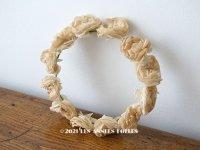 1900年代 アンティーク 薔薇の布花のティアラ ヘッドリース