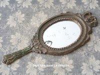 18世紀末〜19世紀初頭 アンティーク 大きなリボンモチーフの手鏡 木製フレーム