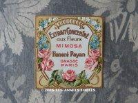 アンティーク 草花のパフュームラベル EXTRAIT CONCENTRE AUX FLEURS MIMOSA - HONORE PAYAN -