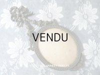 アンティーク メタル製 フォトフレーム リボン&薔薇のガーランド ガラスドーム