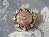 19世紀 アンティーク ナポレオン3世 シルバー製 ピンクゴールド コーティング 小さなブローチ