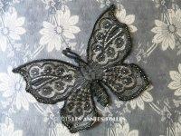 19世紀末 アンティーク レース モチーフ 蝶 花模様