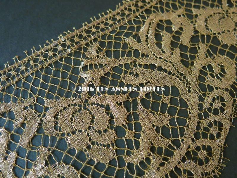画像2: 1920年代 アンティーク 幅広 メタルレース 花模様 アールデコ ゴールド 1〜1.4m