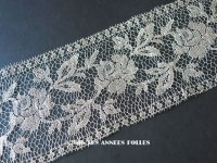 1920年代 アンティーク 幅広 メタルレース 薔薇 花模様 アールデコ シルバー