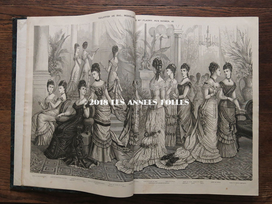 1878年 アンティーク 本 版画付き モード新聞 1年分 ファッション ...