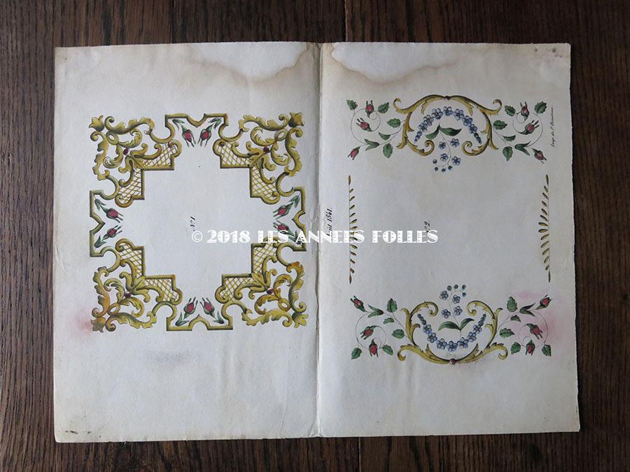 1841年 アンティーク 刺繍図案 花模様 : LES ANNEES FOLLES